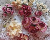 Antiques Roses and Cream 35 Paper Flowers for Scrapbooking Altered Projects