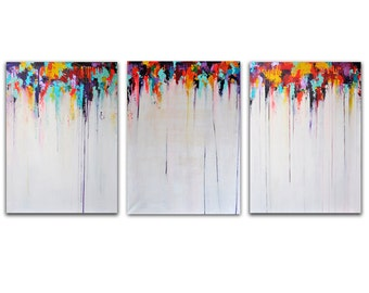 """LARGE Original Abstract Painting, Triptych 71""""x32"""" Rainbow Rain UNSTRETCHED, Rolled in a tube"""