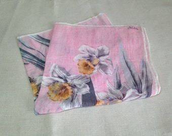 Lovely Vintage 50s Handkerchief COLETTE Designer Pink Gray Yellow Daffodil Floral