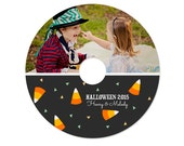 CD Label Template for Photographers - Candy Corn Halloween - INSTANT DOWNLOAD