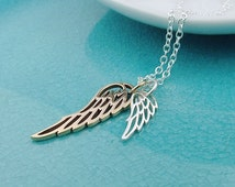 Double Wing Necklace, Sterling silver, gold bronze, mixed metal, remembrance jewelry, dainty angel wing necklace