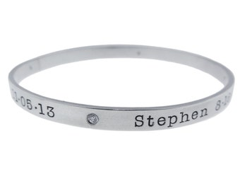Sterling Silver Diamond Bangle Bracelet Personalized Women's Mommy Jewelry Hand Stamped Names Birth Dates Custom Engraved Artisan Handmade