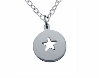 Custom Star Cutout Charm Necklace Personalized Sterling Silver Window Pendant Hand Stamped Engraved Artisan Handmade Fine Designer Jewelry