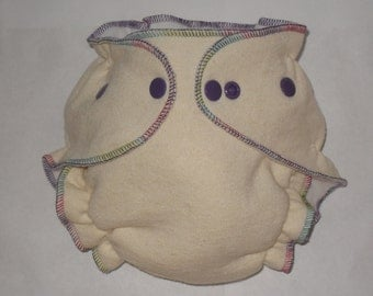 Organic Hemp fitted diaper with punch colored thread and purple snaps