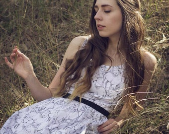 Woodland Creatures Dress - Special occasion, made to order, knee length, summer light.