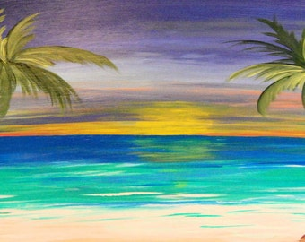 Tropical Sunset Twin Palms Beach Towel from my art