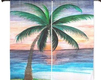 Sunset palm tree sheer curtains