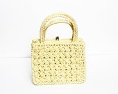 1950s Yellow Straw Handbag