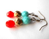 Orange turquoise bronze earrings, red aqua czech crystal dangle earrings