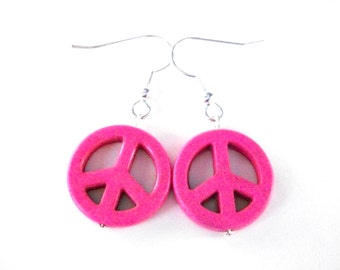 Pink Peace Sign earrings, hot pink stone peace sign jewelry, pink and silver earrings