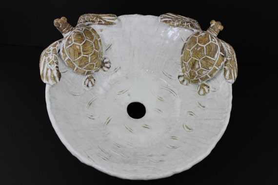 Large Hand Made Ceramic Sea Turtle Vessel Sink By Shayne Greco