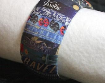 Blue Bangle Bracelet  - Wide Wrapped Words - Decoupage