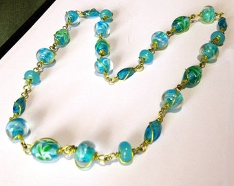 SALE     Long Blue Turquoise Green Wire Wrapped Lampwork Glass Necklace/ Fun Necklace / Long necklace/ wire wrapped necklace