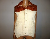 "Vintage 70's  - Reversible - Unisex - Cream and Rust - Corduroy and Nylon - Western - Metal Snap - Vest - Coat -  42"" Chest/Bust"