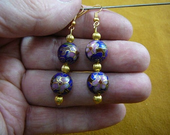 Dark Blue with mauve pink white flower 12 mm Cloisonne two bead gold dangle earring pair EE-613-51