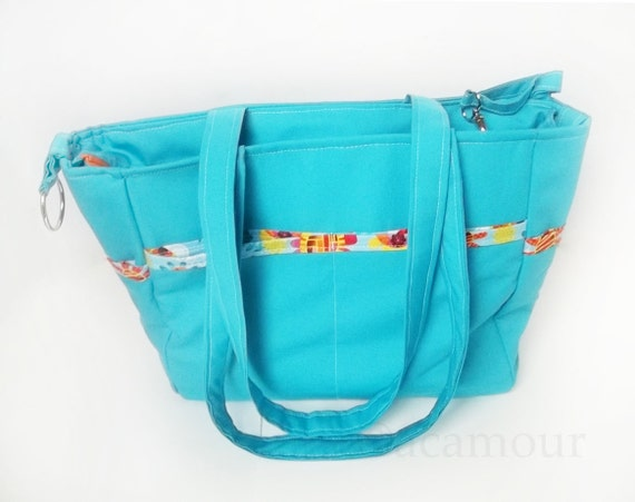 virgo diaper bag in aqua blue with adjustable strap by acamour. Black Bedroom Furniture Sets. Home Design Ideas