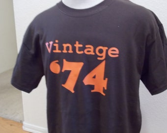Vintage 74' 40th Birthday Black 2x Shirt New Available In 1974 Or Any Year