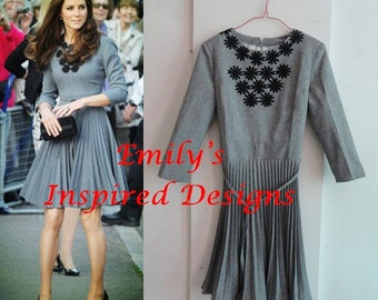 Kate Middleton Gray black lace pleated skirt dress