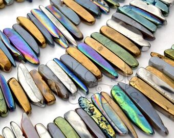 GIANT Multi-Color Mystic Titanium AB Agate Top Drilled Tumbled Stick beads 20-70mm