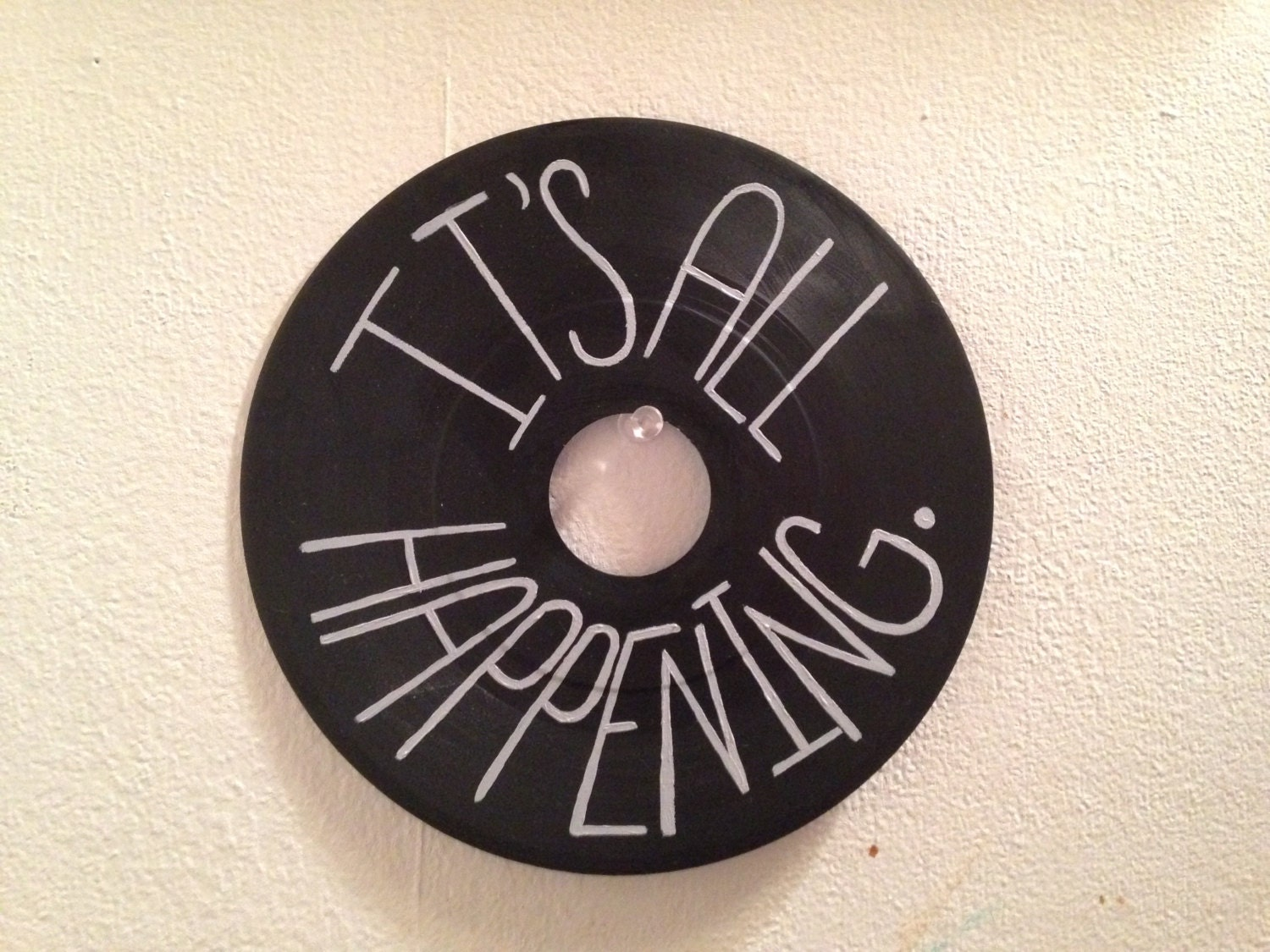 It S All Happening Painted Vinyl Record By Valderie On Etsy