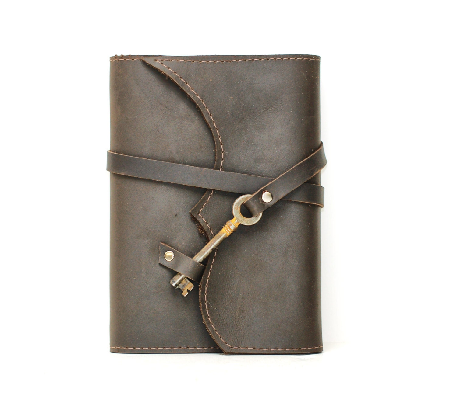 How To Make A Book Cover Leather ~ Distressed brown leather book cover notebook