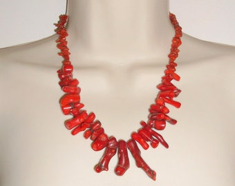 Beautiful Natural Red Sea Coral Gemstone Necklace, Chunky Red Coral Stones, Coral Necklace, Chunky Necklace,