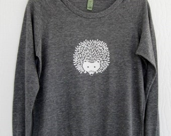 Hedgehog Ladies Top - Size XL Slouchy Pullover in Eco Grey Heather