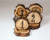 Wedding Table Numbers, rustic cedar circles, natural unfinished cedar wood for rustic or woodland weddings