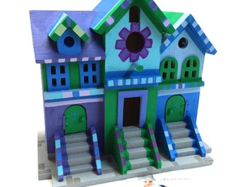 Brownstone Birdhouse Hand Painted in Blue, Purple and Green