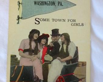 Antique Postcard, Washington, PA, Girls, Unused Souvenir