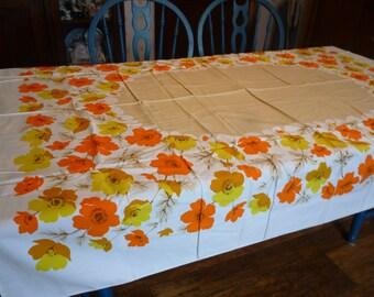 Vintage 52 X 66 Orange & Gold Floral Tablecloth