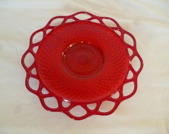 Antique Reticulated Ruby Depression Glass Plate
