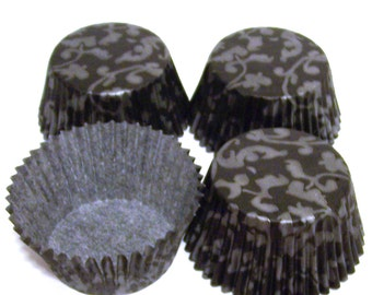 Black with Silver Vine Cupcake Liners- Choose Set of 50 or 100