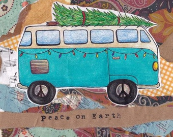 Holiday Card - VW Bus Peace on Earth