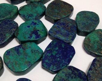Azurite top drilled slabs pendants