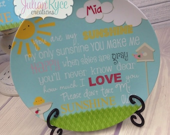 Personalized Custom You are my Sunshine Melamine Plate