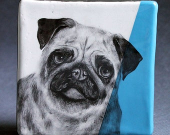 Hand Painted Pug Portrait Wall Tile Turquoise