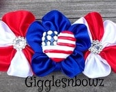 I HeART AMeRiCa Embellished Satin CLuSTeR Flower- Red White and Blue- NEW  4 inch Size