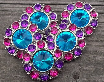 LaRGe RHiNeSToNe BuTToNS 30mm -Set of 5 TuRQUoiSE with SHoCKiNG PiNK/PuRPLE Plastic Acrylic Rhinestone Buttons