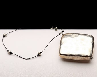 Silver Square Choker Necklace - Hamered Silver Coated Pendant with Faceted Silver Micro Beads