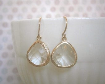 Clear Crystal Glass, Gold Earrings, Bridal Jewelry, Bridesmaid Earrings, Wedding Jewelry