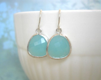 Mint Aqua Earrings, Blue Earrings, Wife Gift, Silver Earrings