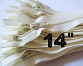 14 Inch vanilla YKK zippers, 25 pcs, ivory, off white, YKK color 121, dress, pouch zippers, sewing supplies