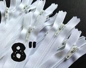 8 Inch white YKK zippers, Ten pcs, YKK color 501, dress, skirt, pouch zippers