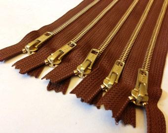 18 inch metal zippers, TEN pcs, brass YKK zippers, gold teeth, medium brown tape, YKK color 859