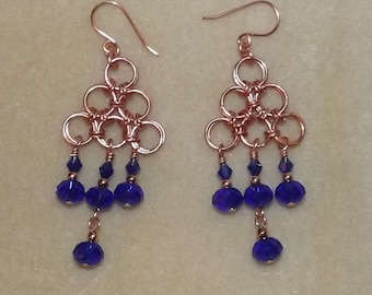 Cobalt Blue Chandelier Chainmaille Copper Earrings