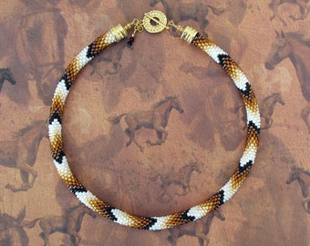 Golden Brown Bead Crochet Necklace