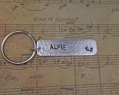 Hand Stamped sterling silver keyring Hallmarked New Baby Christening