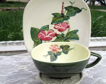 Vintage Teacup Tea Cup and Saucer  Pink Vine flower Hand Painted Redwing Pottery