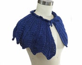 Navy Blue Wedding Capelet - Hand Knit - Bridal Capelet - Something Blue